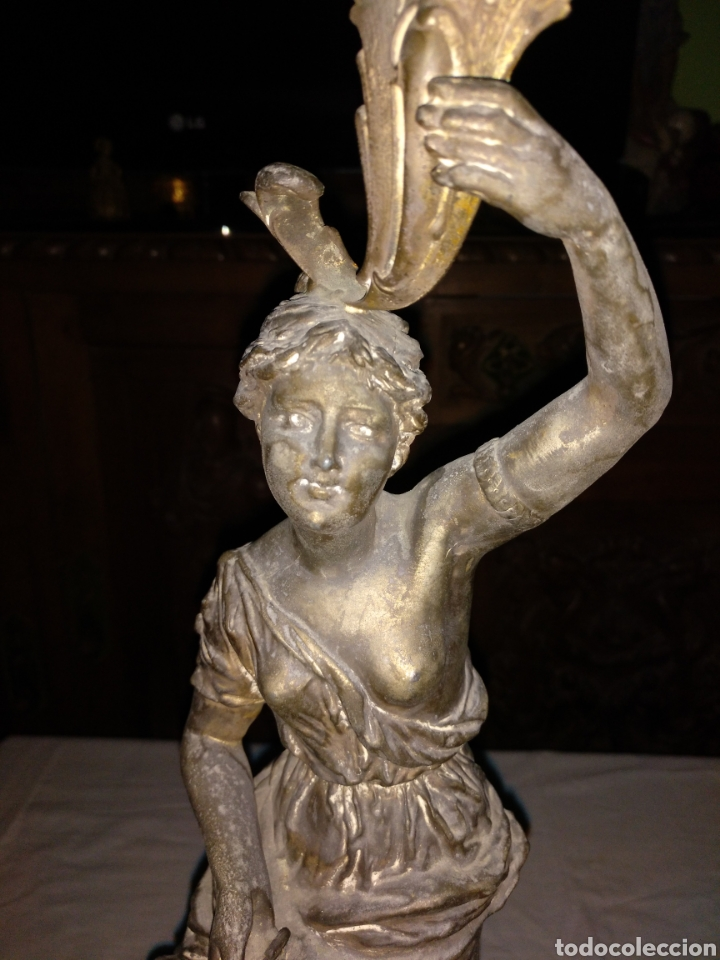 Antigüedades: Candelabro bronce , 3kgrm 51cm x 20cm de base - Foto 2 - 179317176