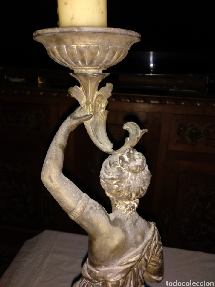 Antigüedades: Candelabro bronce , 3kgrm 51cm x 20cm de base - Foto 6 - 179317176