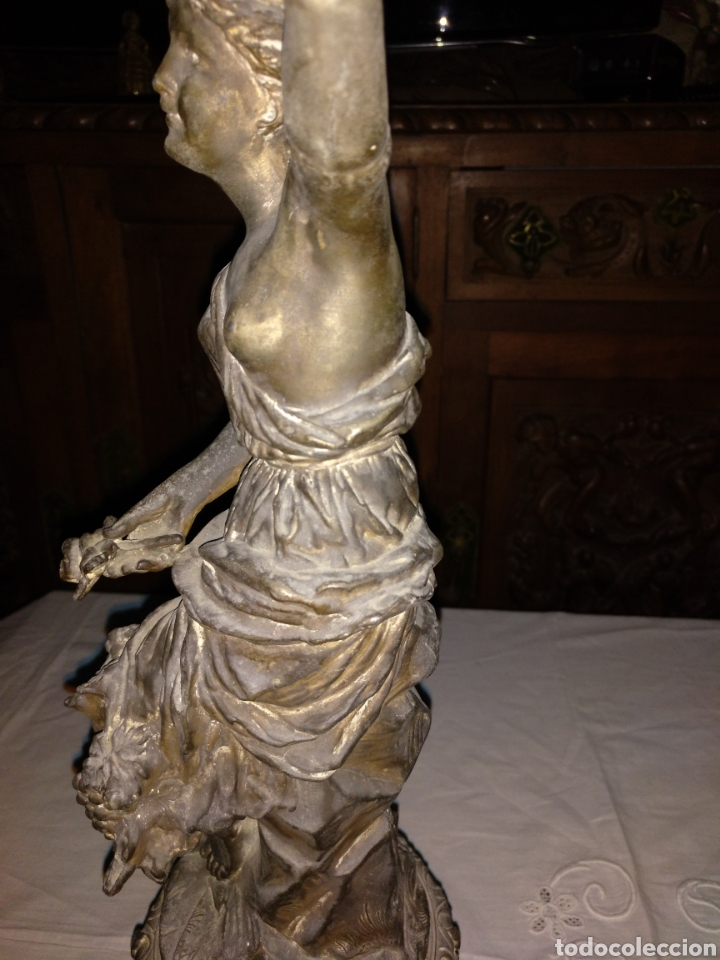 Antigüedades: Candelabro bronce , 3kgrm 51cm x 20cm de base - Foto 16 - 179317176