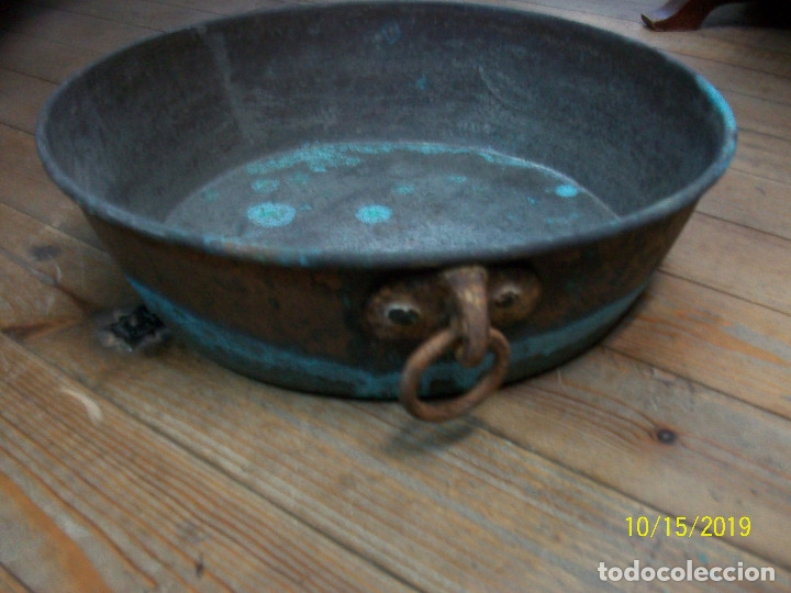 Antigüedades: ANTIGUA PEROLA-PEROL DE COBRE - Foto 3 - 179333927