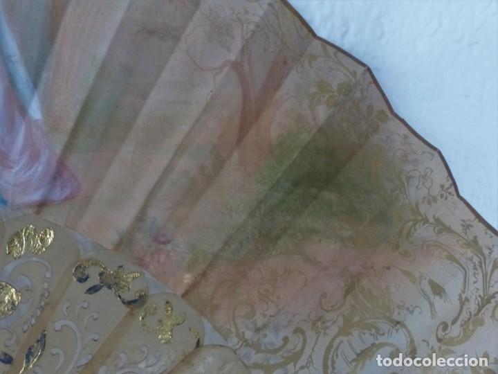 Antigüedades: ABANICO CON ABANIQUERA - ISABELINO - PAIS EN PAPEL LITOGRAFIADO Y PINTADO. - Foto 9 - 179339936