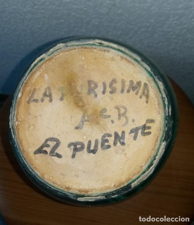 Antigüedades: JARRA CERAMICA - 25 x 9 BASE CMS - LA PURISIMA A.C.B. - EL PUENTE - Foto 2 - 179375861