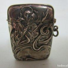 Antigüedades: BONITA CAJA DE CERILLAS MODERNISTA - FUNDA DE MECHERO - PLATA DE LEY - PRINCIPIOS S. XX. Lote 179380647