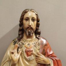 Antigüedades: SAGRADO CORAZÓN DE JESÚS - PARA PARED - ESTUCO POLICROMADO. Lote 179385898