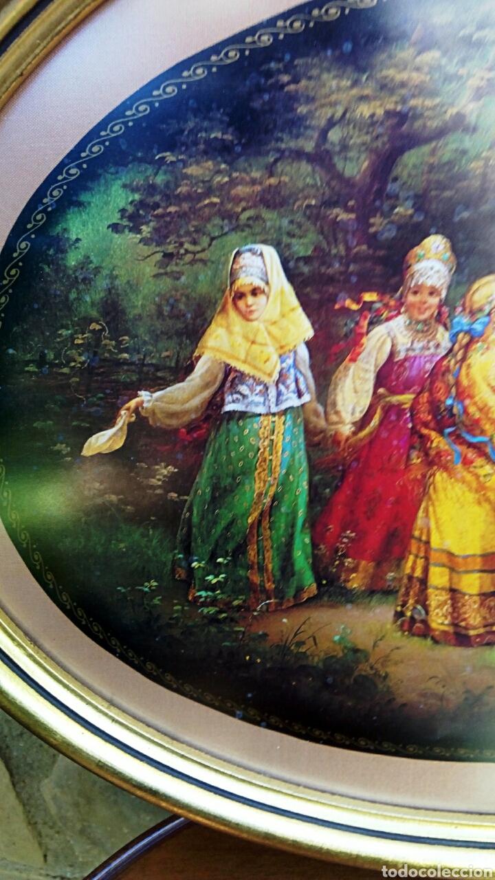 Antigüedades: Cuadro con litografia rusa. Marco de madera oval, decorado en pan de oro - Foto 6 - 179516852