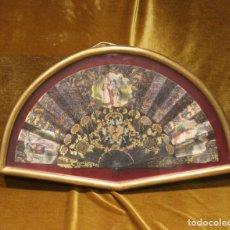 Antigüedades: ABANICO DE LA PRIMERA MITAD DEL SIGLO XX,ENMARCADO,TELA PINTADA A MANO.. Lote 142280474