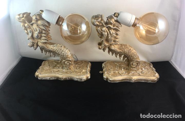 Antigüedades: Pareja apliques dragones de madera tallada ,bombillas -tulipas incluidas -(19313) - Foto 5 - 179537105