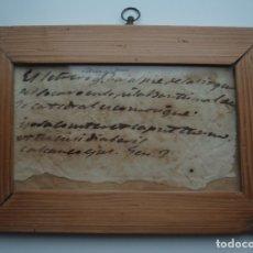 Antigüedades: PEQUEÑO CUADRO. CON FRASE MANUSCRITA Y TEXTO EN LATÍN POR TRADUCIR . MURCIA. S.XVIII.. Lote 179557282