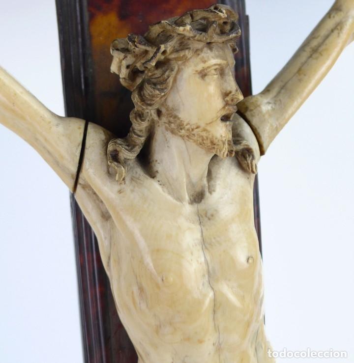 Antigüedades: Crucifijo -Cristo de marfil cruz de carey y madera ebonizada 34 x 56 cm - Siglo XIX o anterior - Foto 8 - 179563367