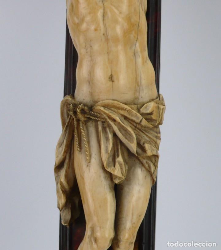 Antigüedades: Crucifijo -Cristo de marfil cruz de carey y madera ebonizada 34 x 56 cm - Siglo XIX o anterior - Foto 22 - 179563367