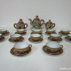 Antigüedades: JUEGO DE CAFÉ SATSUMA, JAPÓN - 12 SERVICIOS Y CAJITA - PORCELANA. Lote 179616327
