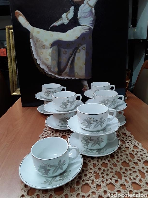 JUEGO DE TE O CAFÉ , DE SAN CLAUDIO,OVIEDO(11 TASAS Y11PLATOS) (Antigüedades - Porcelanas y Cerámicas - San Claudio)