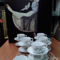 Antigüedades: JUEGO DE TE O CAFÉ , DE SAN CLAUDIO,OVIEDO(11 TASAS Y11PLATOS). Lote 179833153