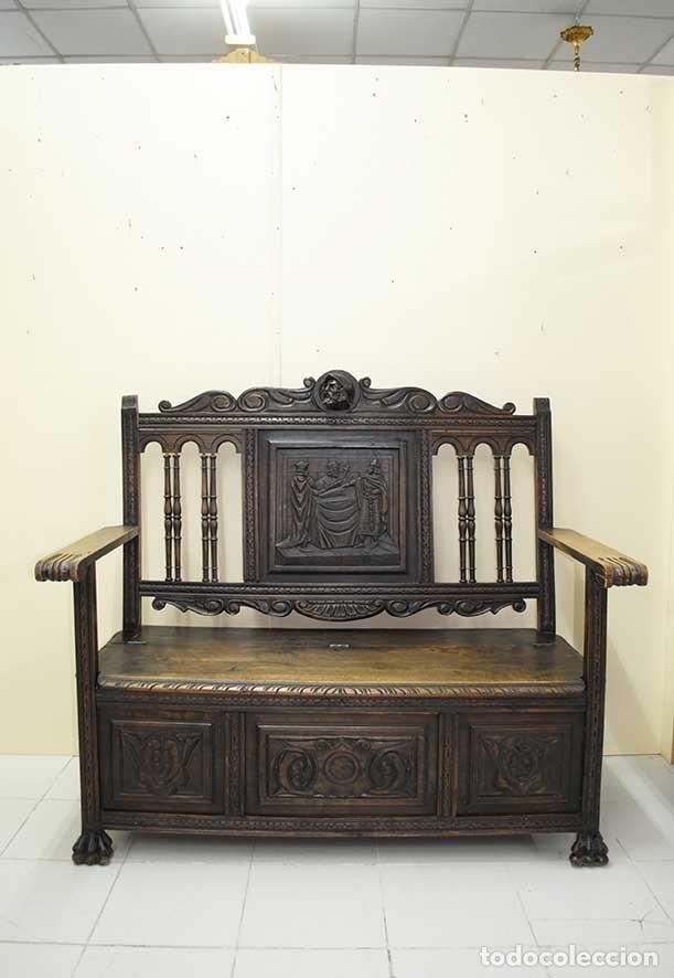 BANCO, SOFÁ ANTIGUO ARQUIBANCO TALLADO RENACIMIENTO ESPAÑOL (Antigüedades - Muebles Antiguos - Sofás Antiguos)
