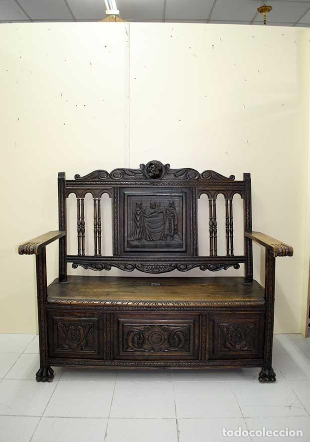 Antigüedades: BANCO, SOFÁ ANTIGUO ARQUIBANCO TALLADO RENACIMIENTO ESPAÑOL - Foto 2 - 179951266