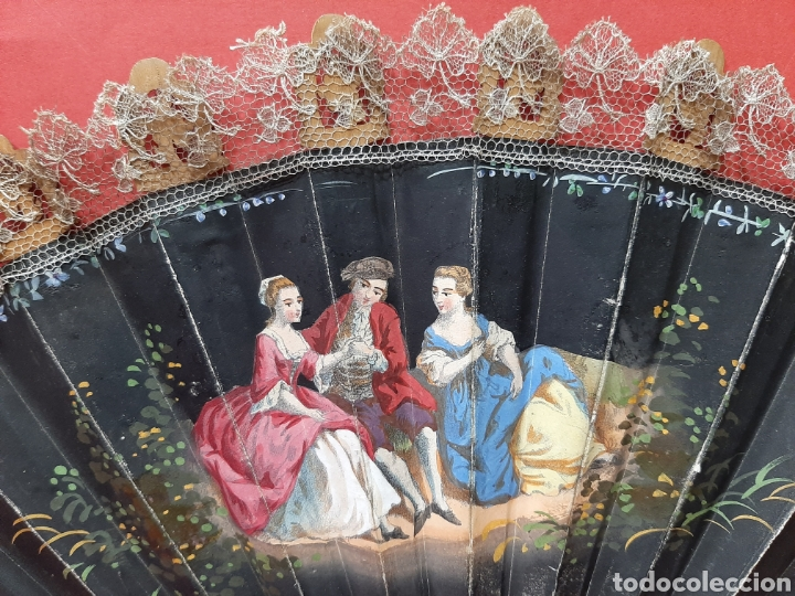 Antigüedades: ANTIGUO ABANICO DE MADERA Y ENCAJE. - Foto 4 - 179951751