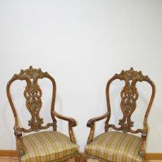Antigüedades: SILLONES ANTIGUOS LUIS XV MADERA DE NOGAL TALLADA. Lote 180021206