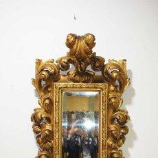 Antigüedades: ESPEJO ANTIGUO CORNUCOPIA SIGLO XVIII MADERA TALLADA Y PAN DE ORO. Lote 180022382