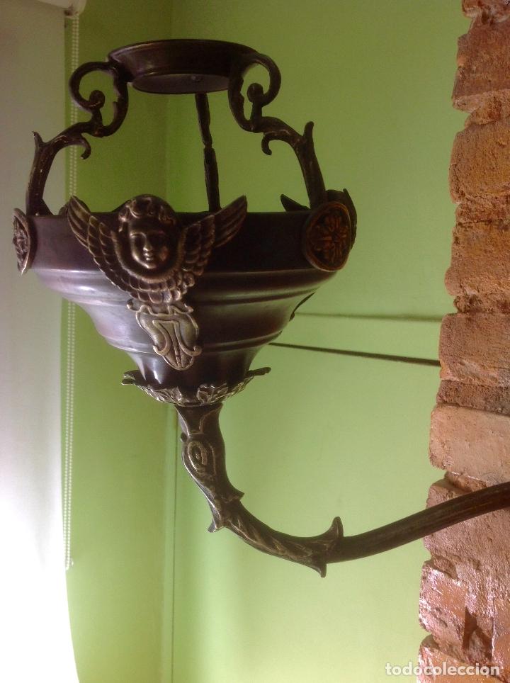 Antigüedades: ANTIGUO QUINQUÉ , APLIQUE DE PARED , SIGLO XIX ORIGINAL , MADERA Y BRONCE - Foto 5 - 180030983