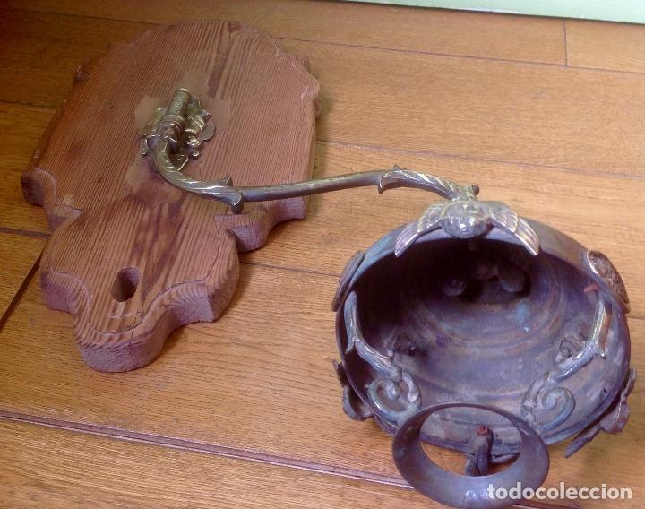 Antigüedades: ANTIGUO QUINQUÉ , APLIQUE DE PARED , SIGLO XIX ORIGINAL , MADERA Y BRONCE - Foto 13 - 180030983