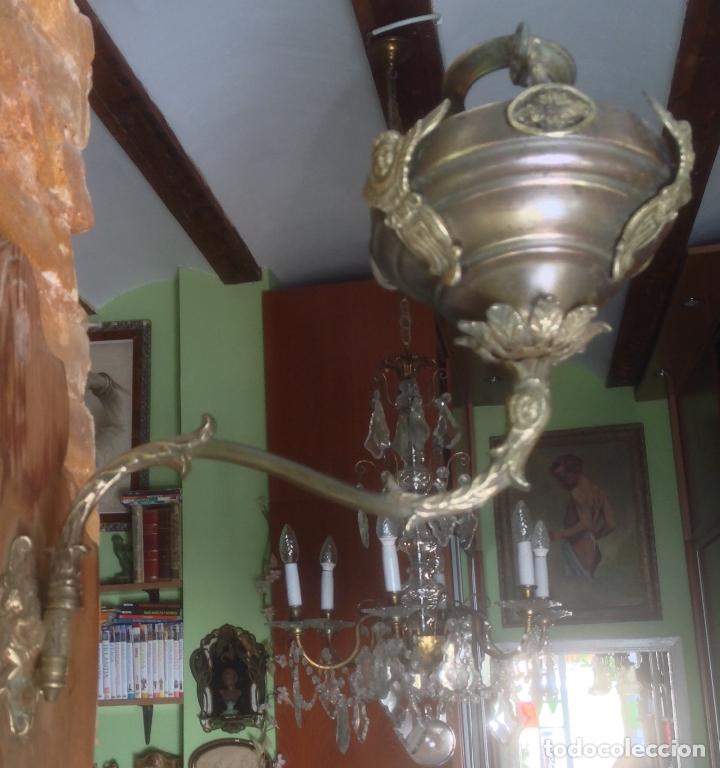 Antigüedades: ANTIGUO QUINQUÉ , APLIQUE DE PARED , SIGLO XIX ORIGINAL , MADERA Y BRONCE - Foto 15 - 180030983