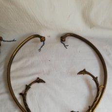 Antigüedades: LOTE 6 BRAZOS DECORADOS PARA ADORNAR LAMPARA O APLIQUE DE BRONCE. Lote 180033645