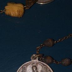 Antigüedades: ROSARIO SIGLO XVIII CON MUCHAS MEDALLAS Y CUENTA DE MARFIL CON CALAVERA Y LA FAZ DE CRISTO. Lote 180036888