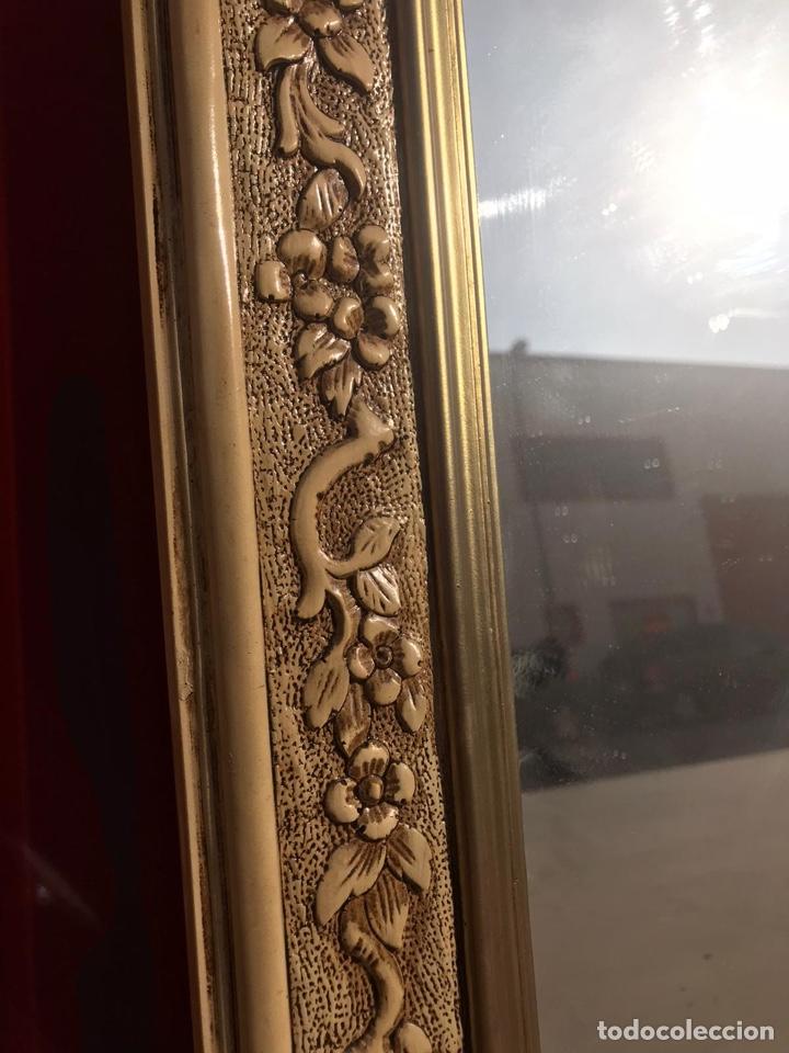 Antigüedades: Antiguo espejo de madera tallada con nidos de pájaros tallado a mano - Foto 3 - 180037570