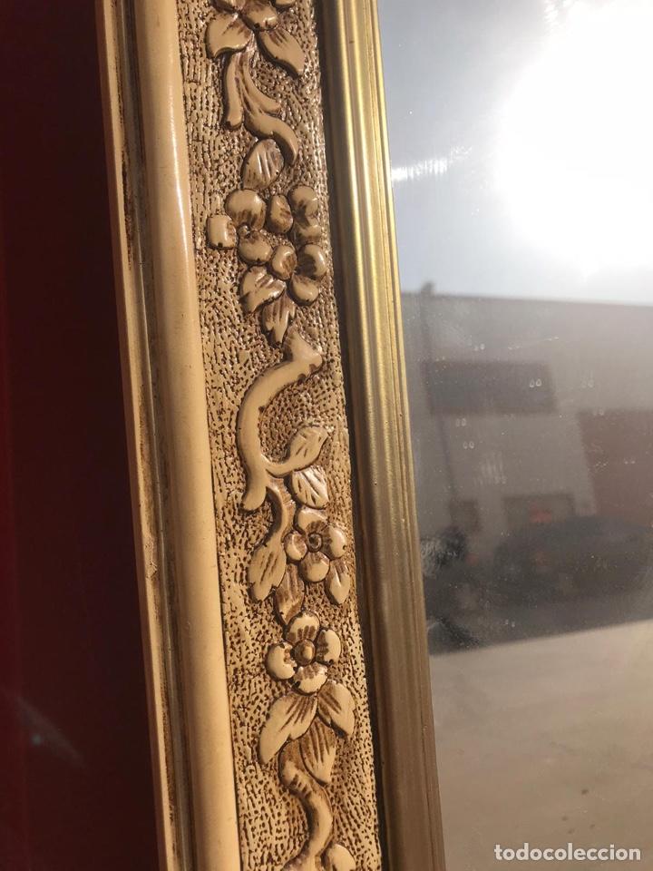 Antigüedades: Antiguo espejo de madera tallada con nidos de pájaros tallado a mano - Foto 7 - 180037570