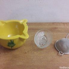 Antigüedades: LOTE MORTERO COLADOR ETC. Lote 180042018