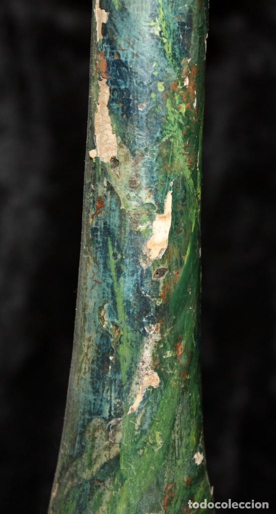 Antigüedades: PAREJA DE CANDELEROS O ORNAMENTOS EN MADERA POLICROMADA DEL SIGLO XVIII - Foto 6 - 180070758