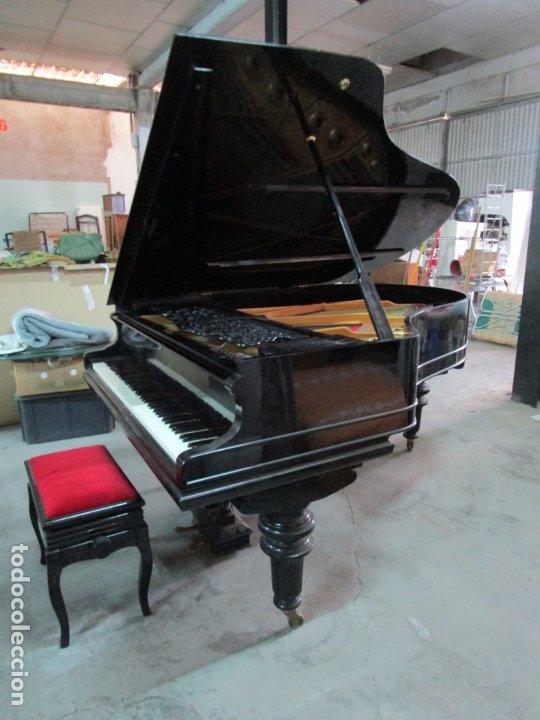 Antigüedades: Bonito Piano de Cola - Marca Chassaigne Fréres - Madera y Laca Negra - con Banqueta - Foto 28 - 180071485