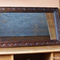 Antigüedades: ESPEJO ENMARCADO DE 70 X 39 CM COLOR GRIS OXIDO. Lote 180078502