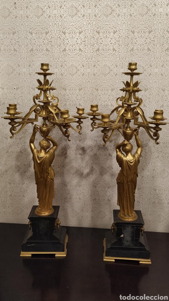 Antigüedades: Pareja de candelabros Imperio. Candelabros bronce antiguos. Francia siglo XIX. - Foto 5 - 180081517