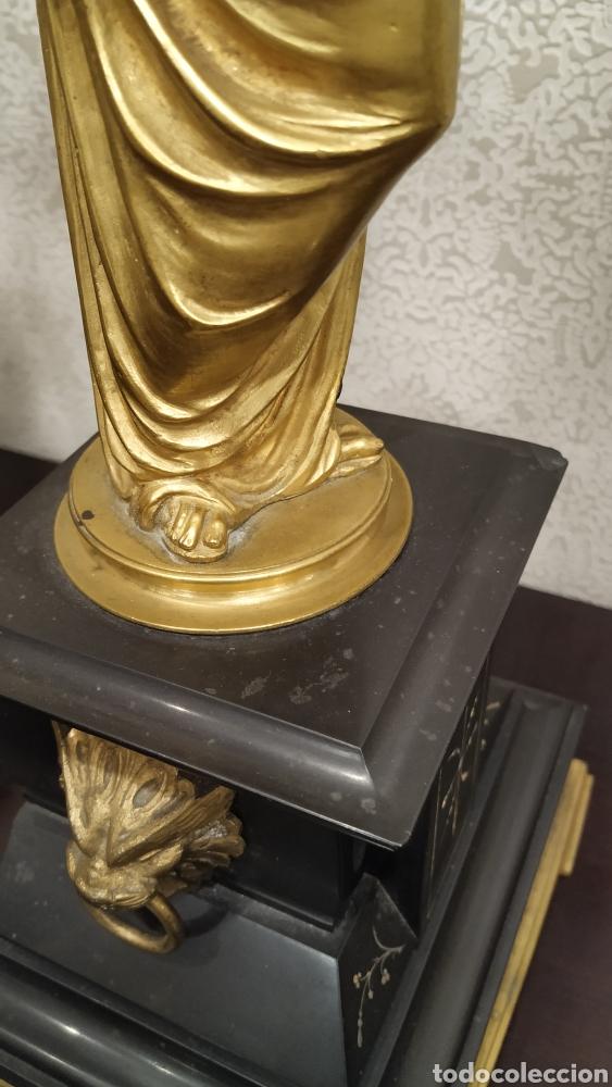 Antigüedades: Pareja de candelabros Imperio. Candelabros bronce antiguos. Francia siglo XIX. - Foto 9 - 180081517