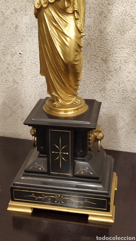 Antigüedades: Pareja de candelabros Imperio. Candelabros bronce antiguos. Francia siglo XIX. - Foto 13 - 180081517