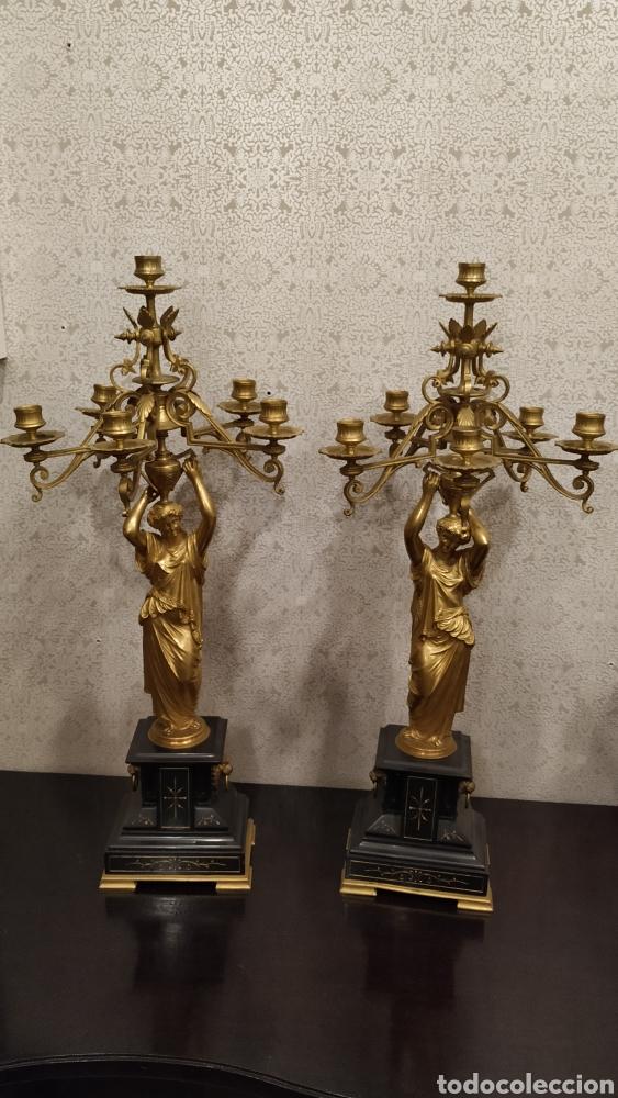 PAREJA DE CANDELABROS IMPERIO. CANDELABROS BRONCE ANTIGUOS. FRANCIA SIGLO XIX. (Antigüedades - Iluminación - Candelabros Antiguos)
