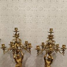 Antigüedades: PAREJA DE CANDELABROS IMPERIO. CANDELABROS BRONCE ANTIGUOS. FRANCIA SIGLO XIX.. Lote 180081517