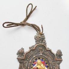 Antigüedades: BENDITERA DE METAL DORADO CON ESMALTE. S.XIX.. Lote 180090375