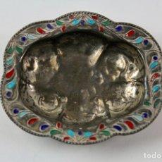 Antigüedades: BANDEJA DE PLATA CON ESMALTES. S.XX.. Lote 180093440