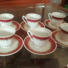 Antigüedades: JUEGO DE 6 TAZAS DE CAFE DE PORCELANA ANTIGUAS. Lote 180108546