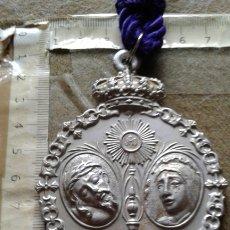 Antigüedades: SEMANA SANTA SEVILLA - MEDALLA CORDON MORADO - GRAN TAMAÑO ALUMINIO - HERMANDAD SAN BERNARDO. Lote 180122961