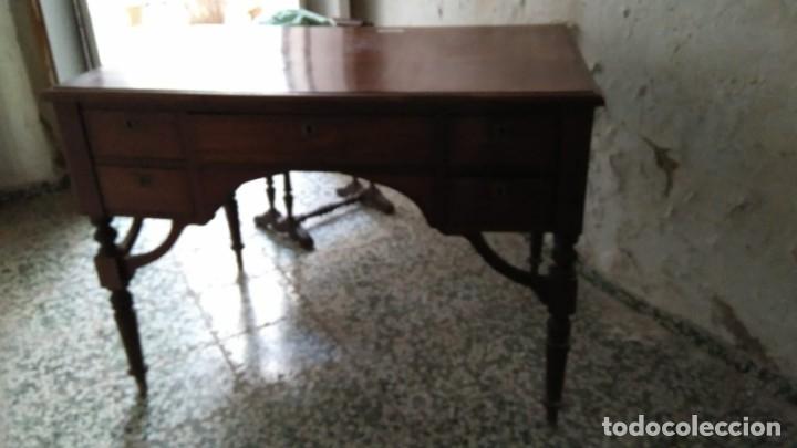 MESA DE DESPACHO DE CAOBA. (Antigüedades - Muebles Antiguos - Mesas de Despacho Antiguos)