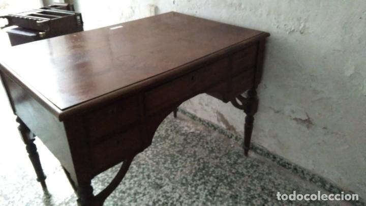 Antigüedades: Mesa de despacho de caoba. - Foto 2 - 180129455