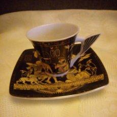 Antigüedades: SOLITARIO DE CAFE PORCELANA EGIPCIO FATHI MAHMOUD LIMOGES - HECHO EN EGIPTO,NEGRO Y ORO.. Lote 180137471