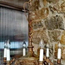 Antigüedades: LÁMPARA DE TECHO DE BRONCE ANTIGUA. Lote 180142623