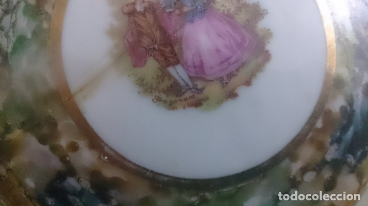 Antigüedades: Juego de tocador fragonard francés (3piezas caja rota) firmada - Foto 2 - 180146180