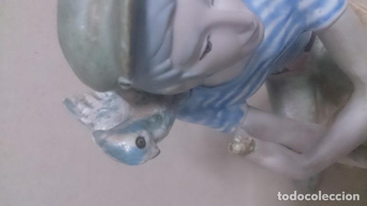 Antigüedades: Niño con pájaros cerámica GALOS 30x20ctms. 2200gamos - Foto 5 - 180147711