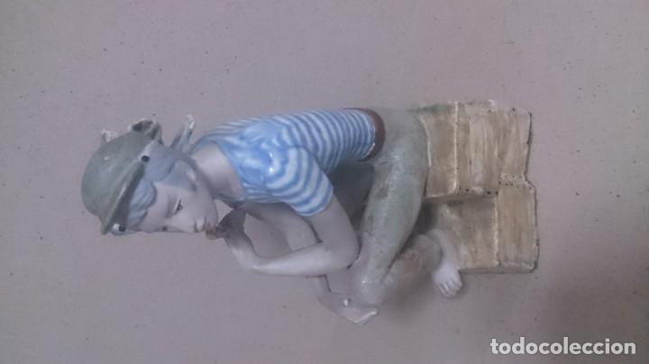 Antigüedades: Niño con pájaros cerámica GALOS 30x20ctms. 2200gamos - Foto 7 - 180147711
