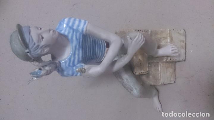 Antigüedades: Niño con pájaros cerámica GALOS 30x20ctms. 2200gamos - Foto 11 - 180147711